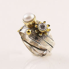 Pearl & White Topaz Two Tone Artisan Crafted Ring - Keja Designs Jewelry
