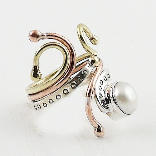 Pearl Three Tone Sterling Silver Adjustable Ring - Keja Designs Jewelry