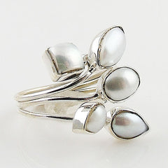 Pearl Five Stone Sterling Silver Adjustable Ring - Keja Designs Jewelry