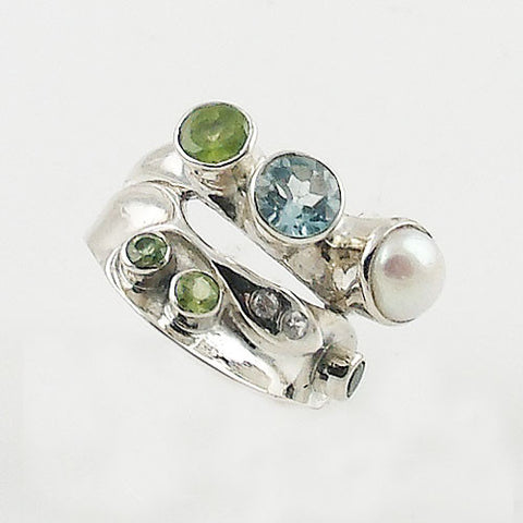 Peridot, Pearl, Blue & White Topaz Sterling Silver Ring
