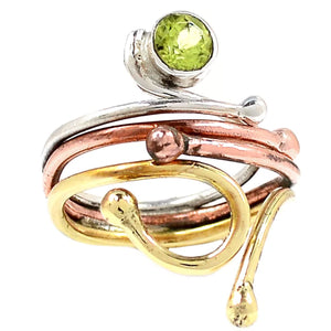 Peridot Adjustable Three Tone Sterling Silver Ring - Keja Designs Jewelry