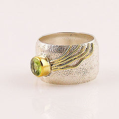 Peridot Sterling Silver Two Tone Band Ring - Keja Designs Jewelry