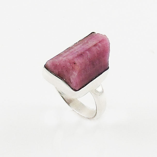 Pink Tourmaline Rough Sterling Silver Ring