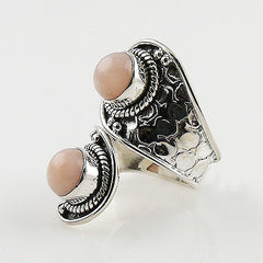 Pink Opal Sterling Silver Adjustable Ring - Keja Designs Jewelry