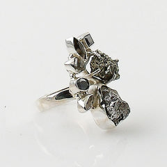 Campo De Cielo Meteorite, Herkimer Diamond & Golden Pyrite Rough Sterling Silver Cascade Ring - Keja Designs Jewelry
