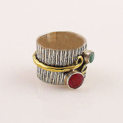 Ruby & Emerald Two Tone Sterling Silver Band Ring - Keja Designs Jewelry