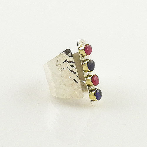 Ruby & Sapphire Sterling Silver Adjustable Cuff Ring - Keja Designs Jewelry