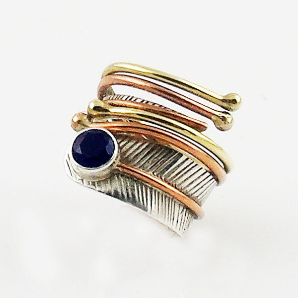 Sapphire Three Tone Adjustable Wrap Ring - Keja Designs Jewelry