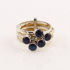 Sapphire Sterling Silver Two Tone Stack Ring - Keja Designs Jewelry