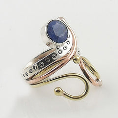 Sapphire Three Tone Sterling Silver Adjustable Ring - Keja Designs Jewelry
