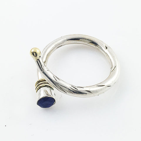 Sapphire Two Tone Adjustable Sterling Silver Ring