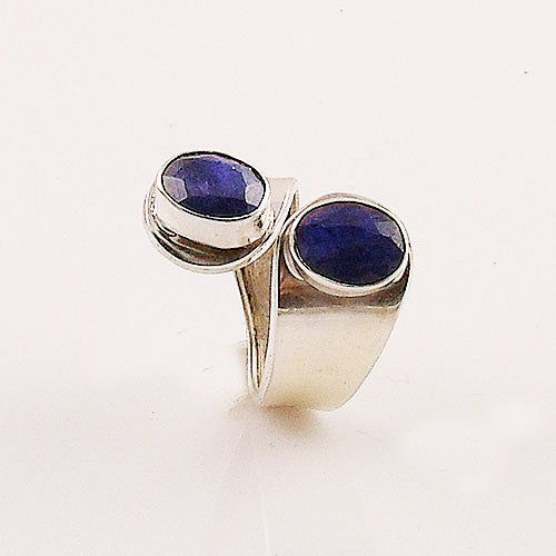 Sapphire Sterling Silver Adjustable Ring - Keja Designs Jewelry