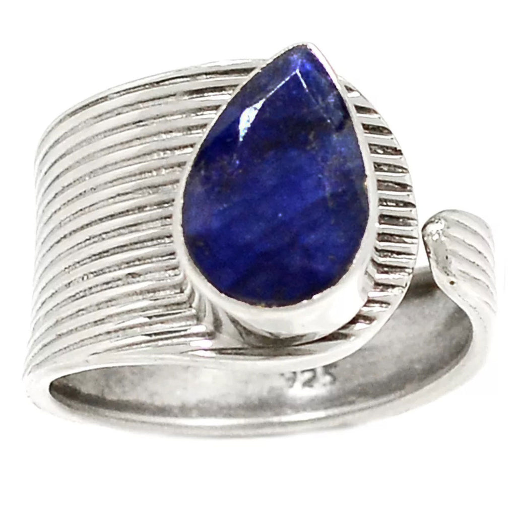 Sapphire Sterling Silver Adjustable Modern Ring - Keja Designs Jewelry