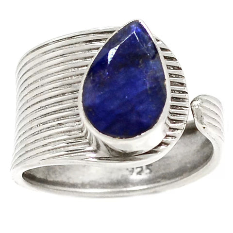 Sapphire Sterling Silver Adjustable Modern Ring