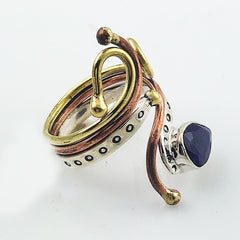 Sapphire Pear Stone Three Tone Sterling Silver Adjustable Ring - Keja Designs Jewelry