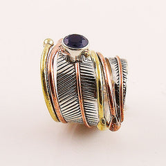 Sapphire Three Tone Sterling Silver Adjustable Wrap Ring - Keja Designs Jewelry
