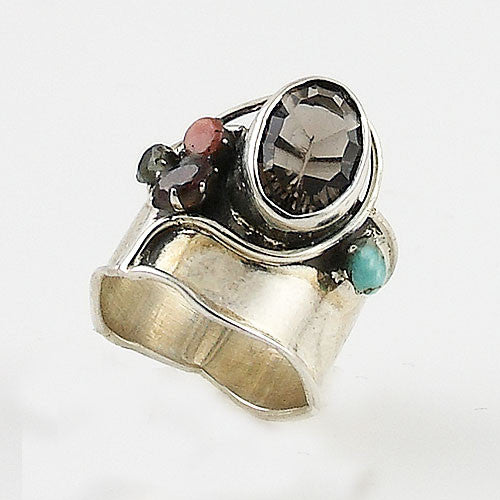 Smoky Quartz Multi-Gemstone Sterling Silver Band Ring - Keja Designs Jewelry