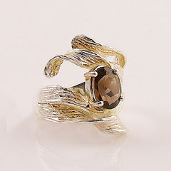Smoky Quartz Ribbons Sterling Silver Ring - Keja Designs Jewelry