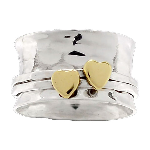 Spinner RIng TwoTone Hearts Kiss Ring