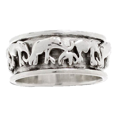 Spinner Ring - Sterling Silver Elephants