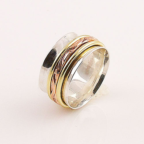 Spinner Ring - Three Tone Three Band- Keja Jewelry - Keja Designs Jewelry