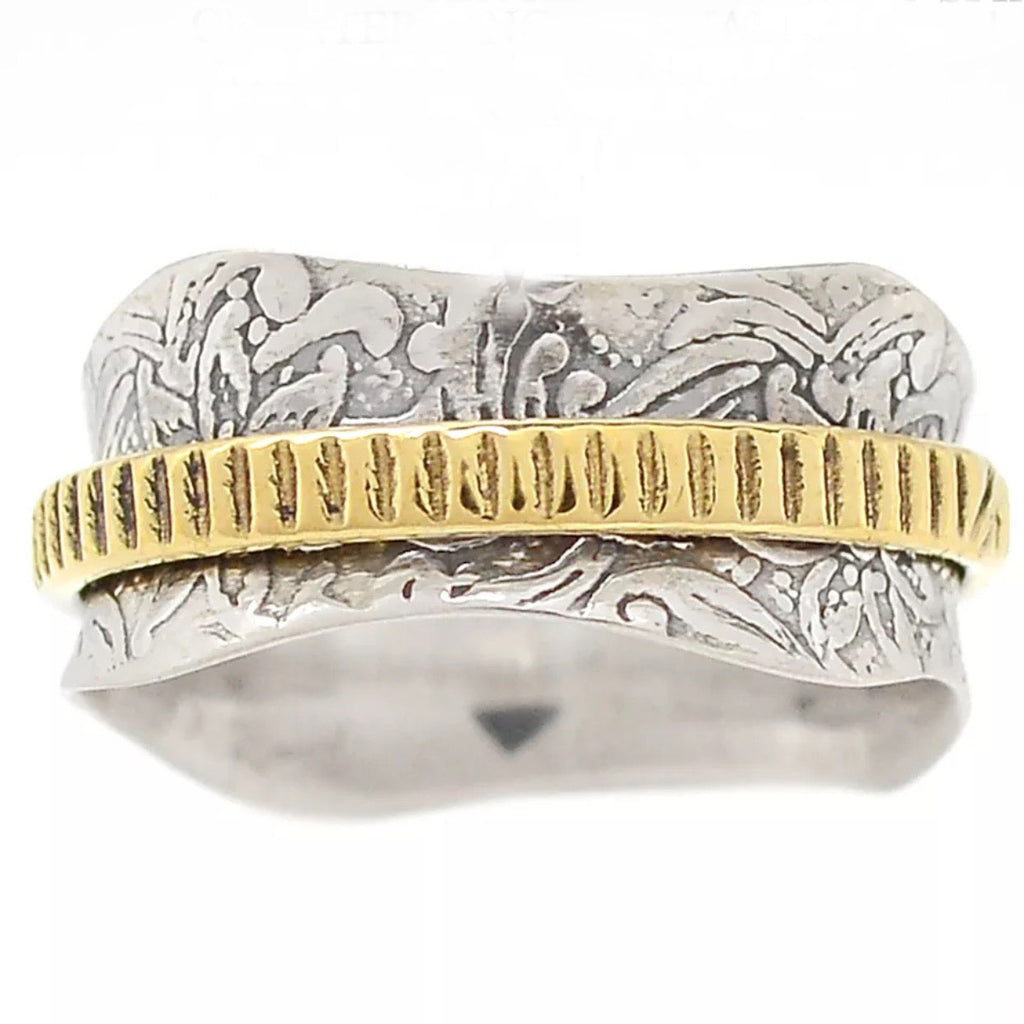 Spinner Ring Two Tone Textured Single Spinner Ring