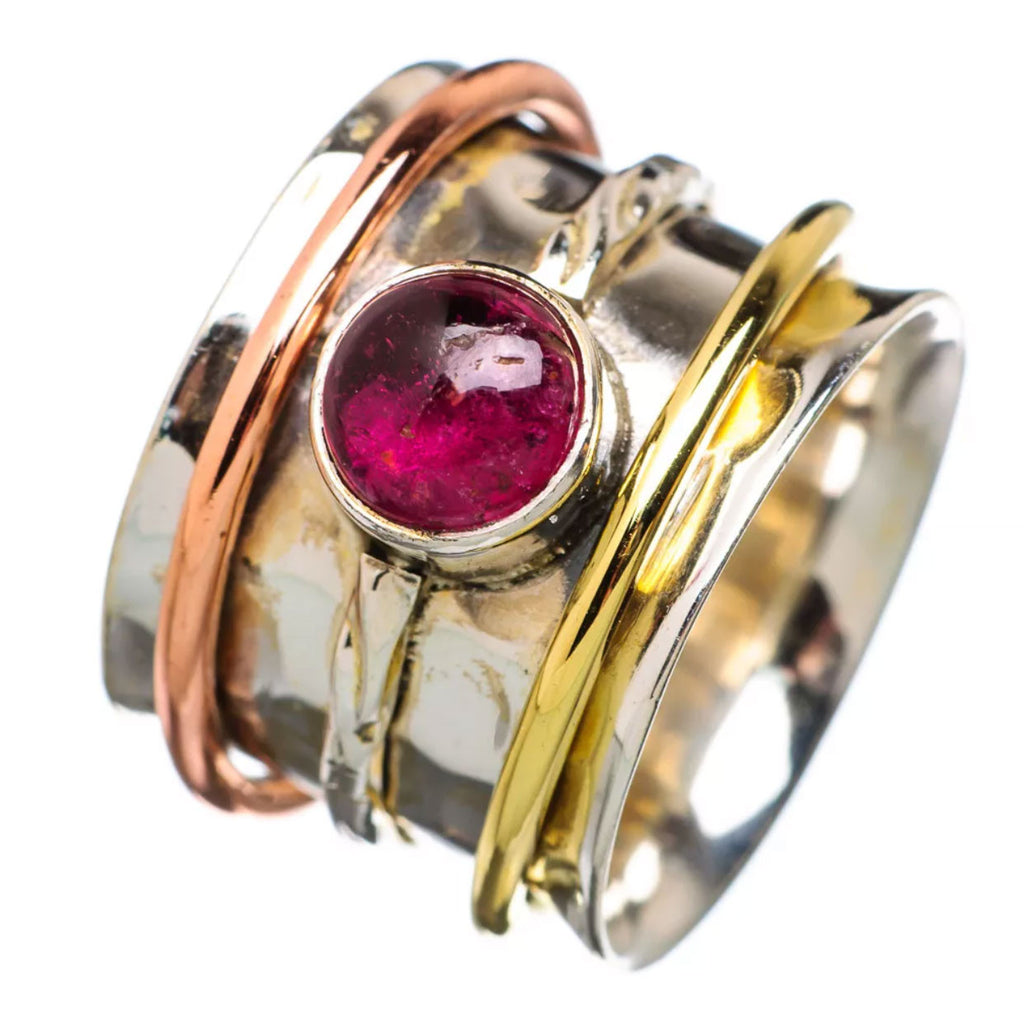 Spinner Ring Three Tone Garnet Round - Keja Designs Jewelry