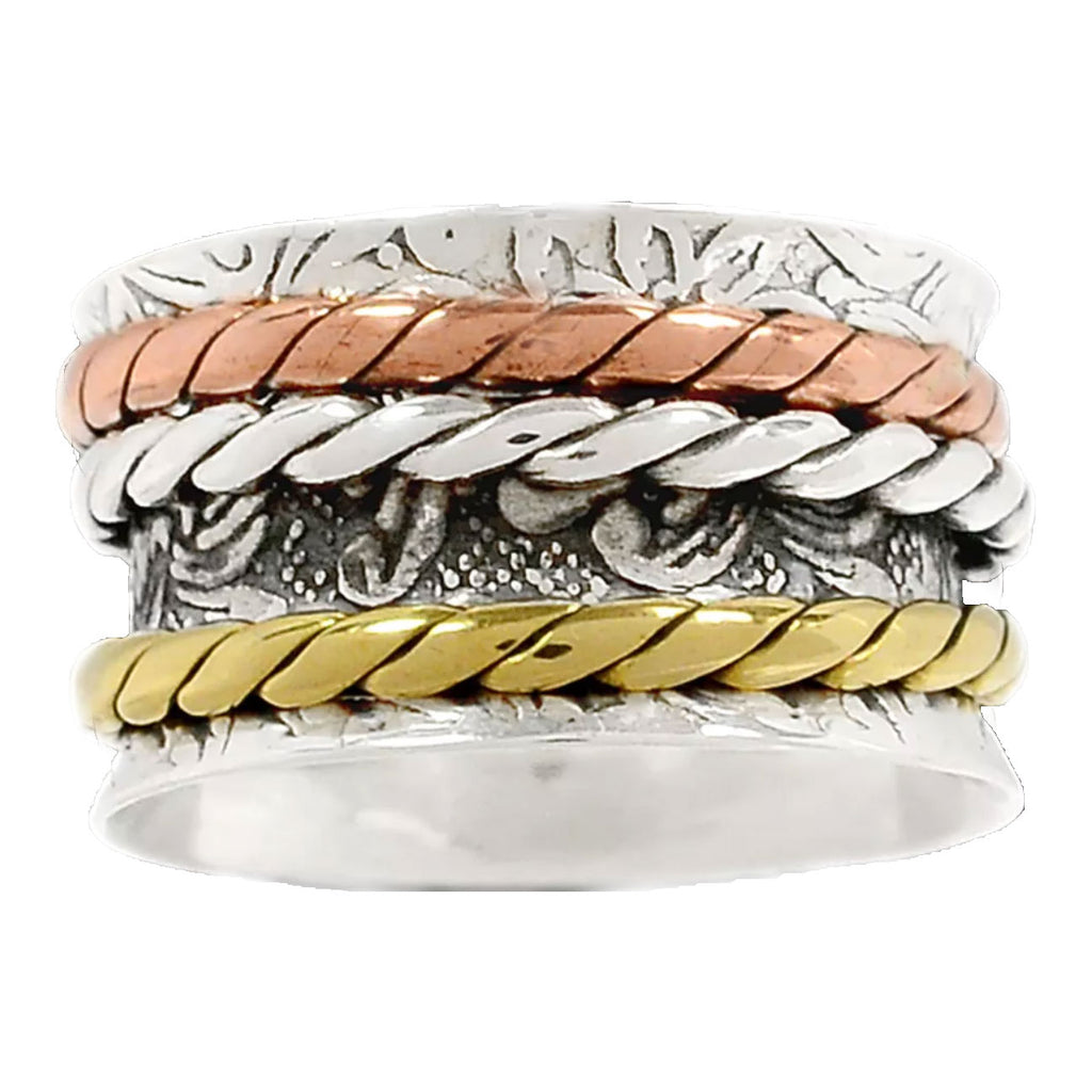 Spinner Ring - Three Tone Three Rope Bands - Keja Designs Jewelry