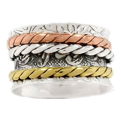 Spinner Ring - Three Tone Three Rope Bands