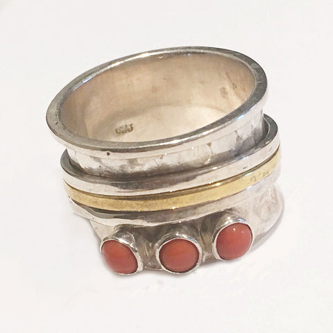 Spinner Ring - Two Tone Sterling Silver Coral Three Stone