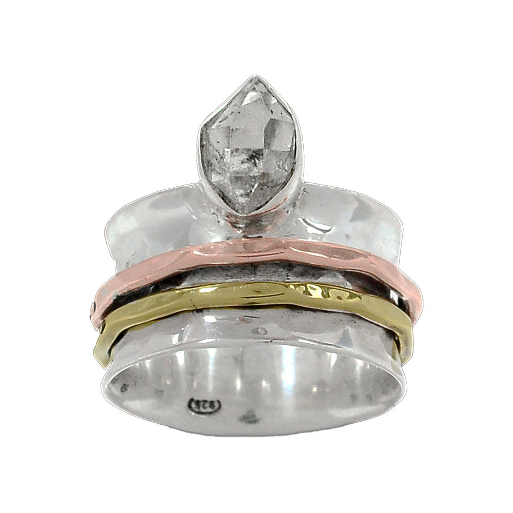 Spinner Ring - ThreeTone Herkimer Diamond - Keja Designs Jewelry