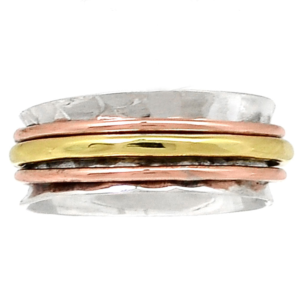 Spinner Ring - Three Tone Three Band Low Profile - Keja Designs Jewelry