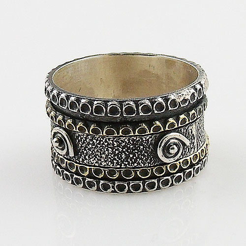 Spinner Ring - Two Tone Spiral with Patina Design - Keja Designs Jewelry