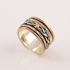 Spinner Ring - Three Tone Braided- Keja Jewelry - Keja Designs Jewelry