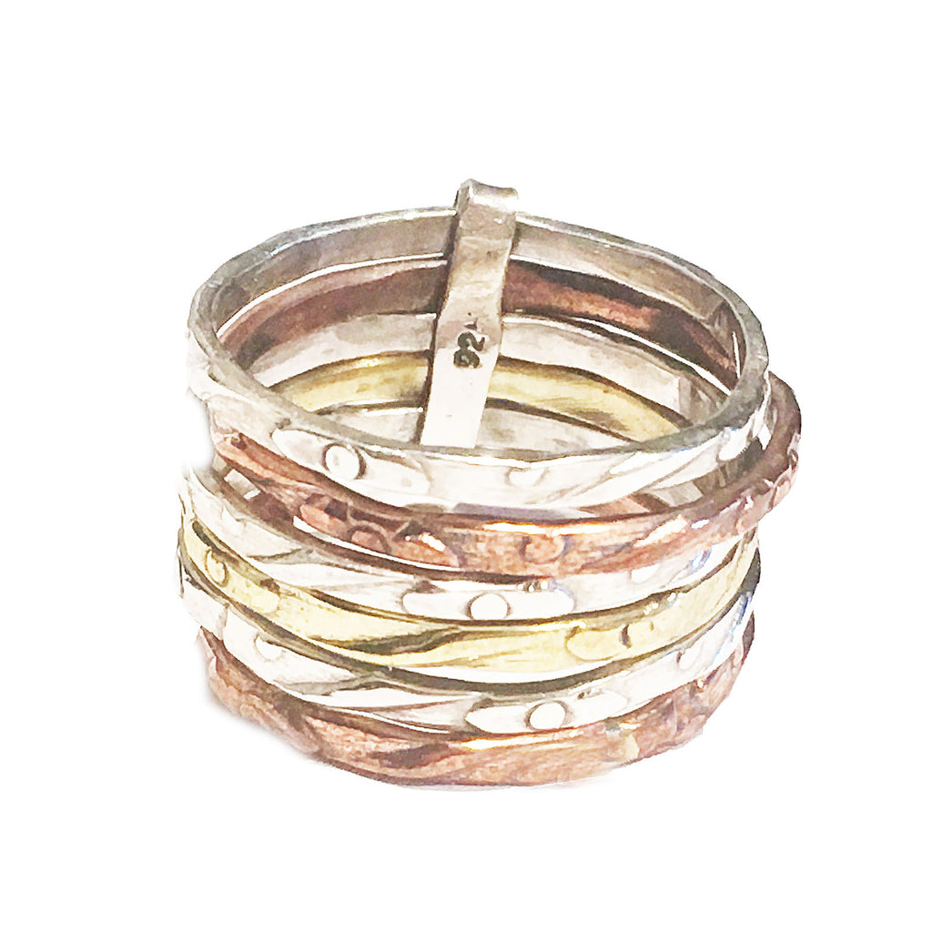 Three Tone Sterling Silver Stack Ring - Keja Designs Jewelry