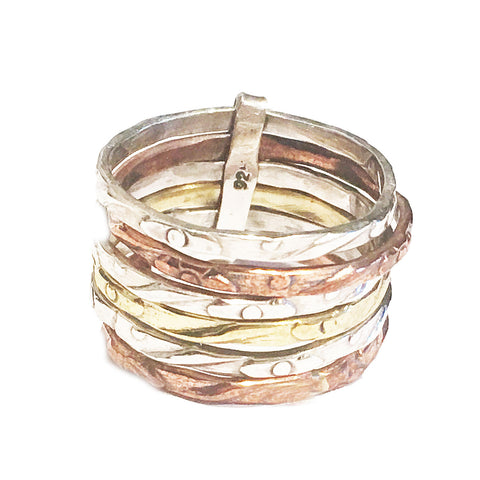 Three Tone Sterling Silver Stack Ring