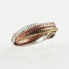 Three Tone Sterling Silver Twisted Ring - Keja Designs Jewelry