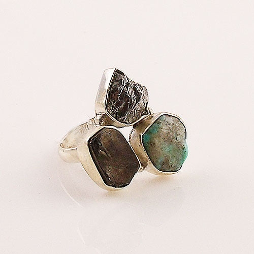 Gibeon Meteorite, Shungite & Turquoise Sterling Silver Ring - keja Jewelry - Keja Designs Jewelry