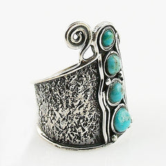 Blue Turquoise Sterling Silver Whimsical Band Ring - Keja Designs Jewelry