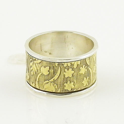 Spinner Ring - Two Tone - Wide Bronze Band - Keja Designs Jewelry