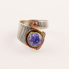 Alexandrite Sterling Silver Three Tone Wrap Ring - keja jewelry - Keja Designs Jewelry