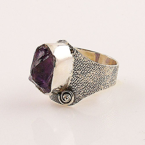 Amethyst Rough Sterling Silver Ring - Keja Designs Jewelry