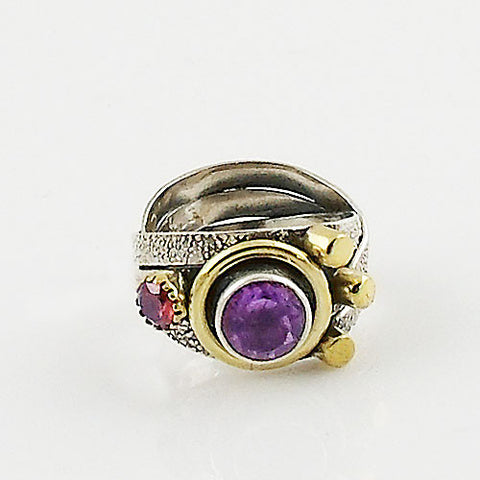 Amethyst & Garnet Two Tone Artisan Crafted Ring - Keja Designs Jewelry