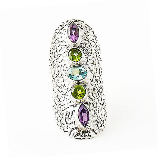 Amethyst, Peridot & Blue Topaz Sterling Silver Statement Ring - Keja Designs Jewelry