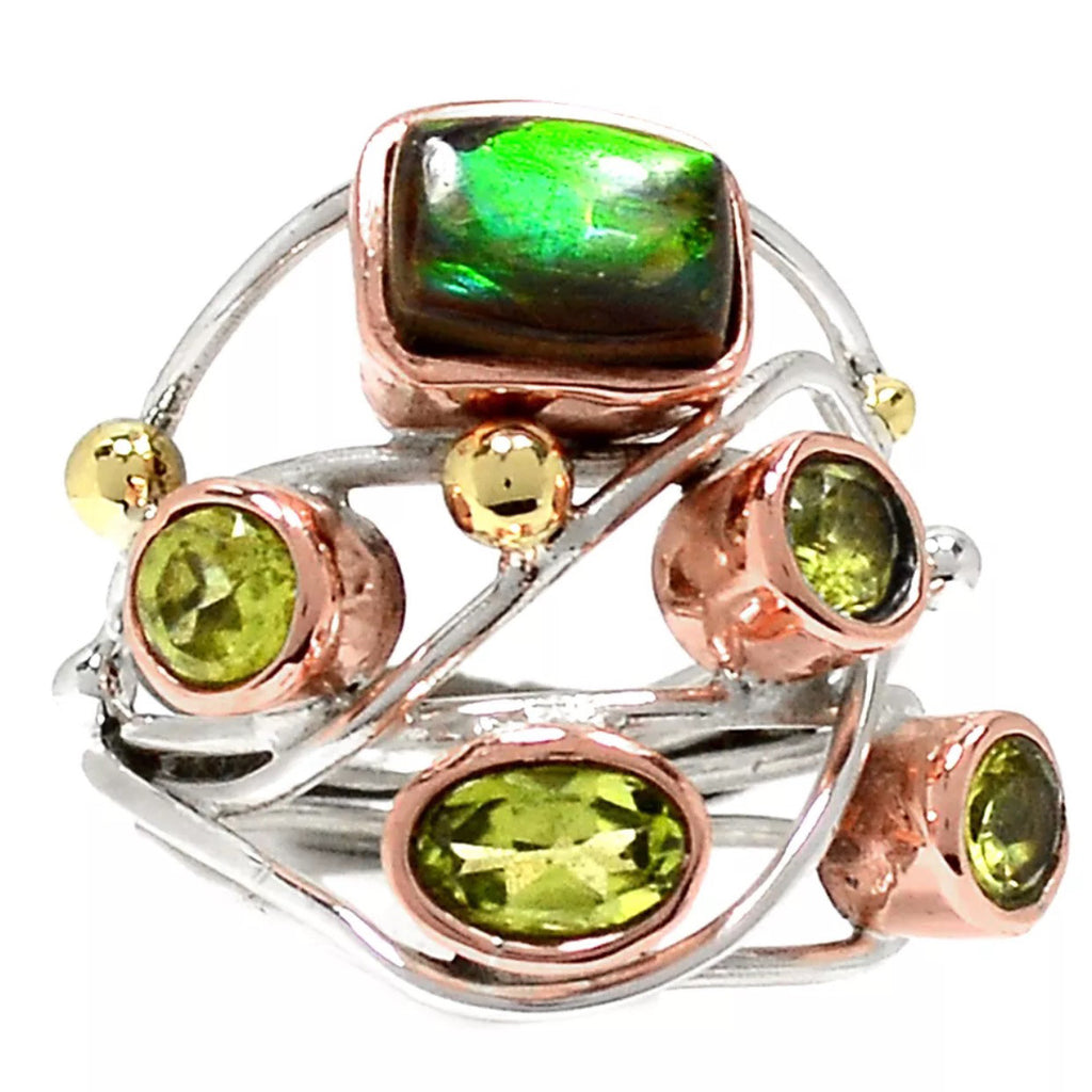 Ammolite & Peridot Sterling Silver Three Tone Collage Ring - Keja Designs Jewelry