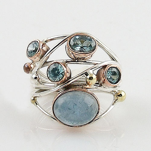 Aquamarine & Blue Topaz Sterling Silver Three Tone Collage Ring - Keja Designs Jewelry