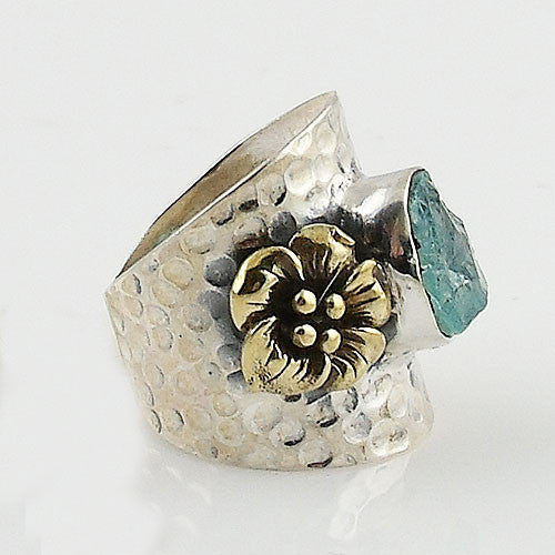Aquamarine Rough Two Tone Sterling Silver Starfish Ring - Keja Designs Jewelry