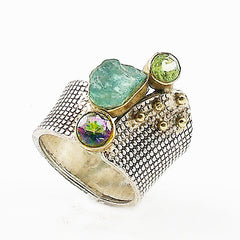 Aquamarine Rough & Gemstone Sterling Silver Two Tone Confetti Ring - Keja Designs Jewelry