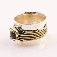 Black Onyx Two Tone Ribbons Band Ring - Keja Designs Jewelry