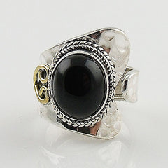 Black Onyx Sterling Silver Two Tone Adjustable Wrap Ring - Keja Designs Jewelry